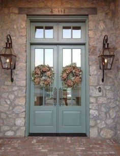 Bevolo gas lights on beautiful stone house Love the doors too Front Door Paint Colors, Painted Front Doors, Front Door Painting, Door Design, Exterior Design, House Design, Porta Colonial, Country Front Door, Front Door Entry