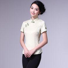 Short Sleeve Modern Mandarin Qipao Shirt - Green - Chinese Shirts & Blouses - Women