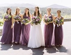 Bridesmaid Tulle Dresses in Dark Purple and Lilac Shade Lilac Bridesmaid Dresses, Yellow Bridesmaids, Wedding Bridesmaids, Wedding Bouquets, Wedding Flowers, Ball Gown Dresses, Tulle Dress, Party Dresses, August Wedding Colors