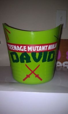 Personalized Teenage Mutant Ninja Turtle Bucket vinyl. $8.00, via Etsy.