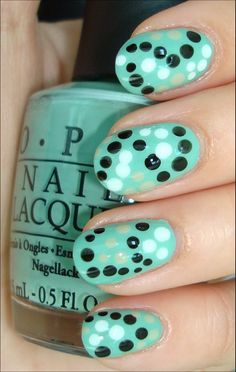 OPI Mermaid's Tears. Dots: OPI Alpine Snow, OPI Stranger Tides.    China Glaze Liquid Leather  1 coat of Seche Vite Dry Fast Top Coat