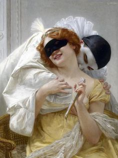 Pierrot's Embrace ~ Guillaume Seignac ~ French Academic Classical artist ~ (1870-1924)