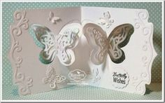 Frances Byrne using the Pop it Ups Butterfly Pivot Card, Butterfly Accessory Dies and Agatha Edges dies by Karen Burniston for Elizabeth Craft Designs - CCEE1425WhiteBfly2-wm