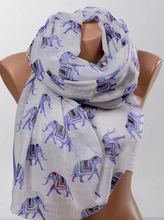 White and BLUE Elephant pattern Scarf Wrap. by scarfstore2012