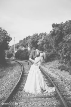 Gorgeous wedding photos on closed railway line.