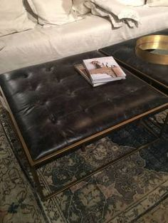 Square Tufted Leather Coffee Table Ottoman with Aged Brass Finished Frame Also Available As Rectangular Tufted Ottoman Leather Coffee Table, Black Coffee Tables, Coffee Table Tray, Coffee Table Styling, Coffee Table With Storage, Tufted Ottoman, Leather Ottoman, Ottoman In Living Room, Cocktail Ottoman