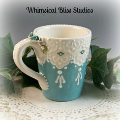 Whimsical Bliss Studios - Turquoise Rose Mug