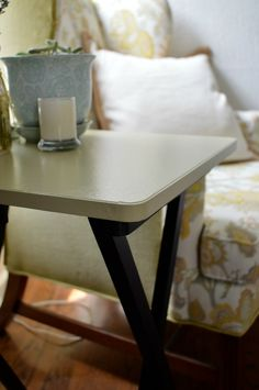 Repurposed TV Tray   This would be a good folding table to use part time without it looks so much like a TV tray!