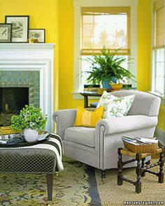 Decorating with color - yellow walls (sitting room) Good green/beige accents with primary white