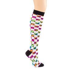 Neon Zebra Checkered Knee Socks | Claire's Hip Hop-Ballet Girls