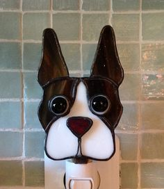 Stained Glass Boston Terrier Night Light