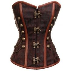 Steampunk Brown Leather Corset Over Bust Steel Boned LARP Latch Hook Goth Punk | eBay