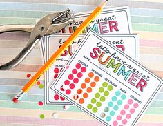 """Summer Activity Punch Cards to prevent """"Mom I'm bored"""" all summer long! Print out and get punching."""