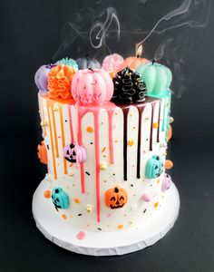 Drop Dead Candles by DropDeadCandles Pasteles Halloween, Bolo Halloween, Halloween Birthday Cakes, Halloween Sweets, Halloween Baking, Cute Halloween Cakes, Halloween Cocktails, Halloween Party, All You Need Is