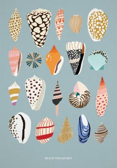 Conchas I Sandra Holmes Art And Illustration, Illustration Inspiration, Inspiration Art, Art Inspo, Pattern Illustration, Doodles, Guache, Grafik Design, Art Design