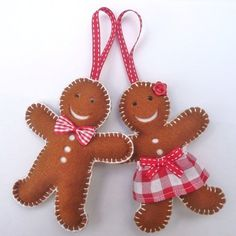 Pair of Mr and Mrs Gingerbread Man Felt Chritmas Tree ornaments Handmade