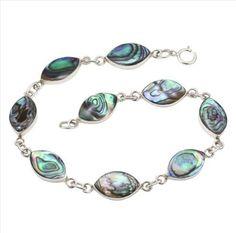 Abalone Paua Shell & 925 Sterling Silver Bracelet: Jewelry: Amazon.com