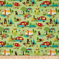Riley Blake Road Trip Main Green from @fabricdotcom  Designed by Kelly Panacci for Riley Blake Designs, this cotton print collection features lovely retro travel themed prints. Perfect for quilting, apparel, and home decor accents. Colors include shades of green, teal, yellow, burnt orange, taupe, brown, and white.