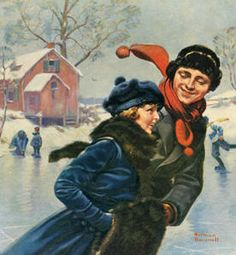 Red Cross Magazine - Couple Ice Skating by Norman Rockwell Norman Rockwell Prints, Norman Rockwell Paintings, Skate Original, Norman Rockwell Christmas, Norman Rockwell Thanksgiving, Vintage Illustration, Munier, Illustrations, Canvas Artwork