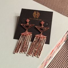 LAST CHANCE HOUSE HARLOW NWT Rose gold rhinestone earrings House of Harlow 1960 Jewelry Earrings