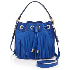 Milly Small Essex Suede Fringe Bucket Crossbody (1.435 NOK) ❤ liked on Polyvore featuring bags, handbags, shoulder bags, french blue, blue suede handbag, fringe shoulder bag, fringe purse, fringe handbags and fringe crossbody purse