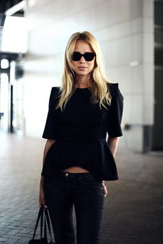 black peplum, all black, street style, all black everything, chic