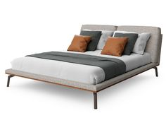 Fabric double bed with upholstered headboard COSILY