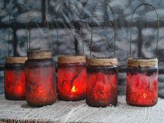 Witch Lantern Jars  this project is super easy, and the look is really great for halloween  Video Tutorial   found on the haunting grounds forum http://thehauntinggrounds.com/2010/halloween-props/witch-lantern-jars/