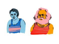 Karl Marx & Ayn Rand - swimsuit edition