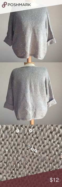 "Forever 21 silver sweater with sequins. Size small Excellent condition Forever 21 silver and silver metallic sweater with sequins. Size small. 22"" long. Acrylic/poly Forever 21 Sweaters"