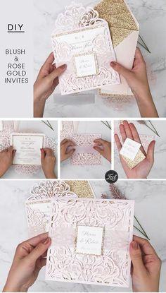 blush pink and rose gold belly band wedding invitations #ewi #blush #weddinginvitations