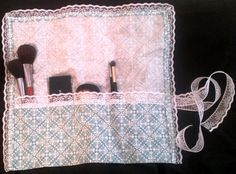 Teal and White Damask Make up Brush Roll by twistedviridiana