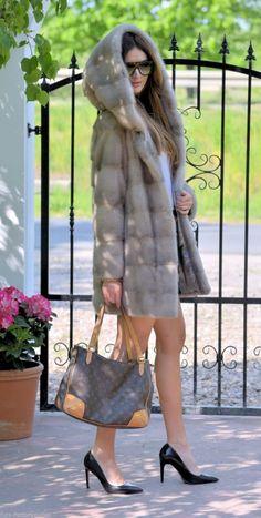mink furs - italy platinum saga mink fur coat hood