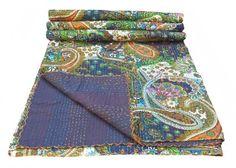 Multicolor Paisley Print King Size Kantha Quilt , Kantha Blanket, Bed Cover, King Kantha bedspread, Bohemian Bedding Kantha Size 90 Inch x 108 Inch