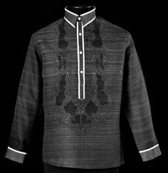 Black Barong Tagalog 3137 Take Barong Tagalog to the next level of style by adding this new design of embroidery complete with monochromatic color. Barong Tagalog, Wedding Tux, Dream Wedding, Wedding Ideas, Filipiniana Dress, Philippines Fashion, Guayabera Shirt, Battle Dress, Fashion Brand