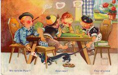 Vintage Dachshund  Boys  play card game  Humor  Old Dog postcard  1958