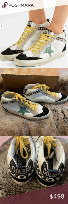 NIB! Golden Goose White Leather Stud Mid Stars, 36 Selling this RARE + amazing Net-a-Porter exclusive Golden Goose white leather stud Mid Stars, size 36. Grab them while you can - very few pairs were made. Comes with original box and shoe bag. Golden Goose Shoes Sneakers