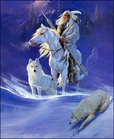white horse wolf and native in the sky Native American Wolf, Native American Paintings, Native American Pictures, Native American Wisdom, Native American Beauty, Native American Artists, American Indian Art, Native American History, Art Indien