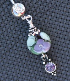 Lilic Purple N Green Ornate Lampwork Style Floral by chuckhljal, $26.00