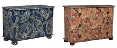 Source: Left – Blue Shell Studded Chest  Right – Painted Paisley Duchess Chest  Both from Belle Escape