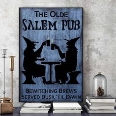 The Olde Salem Pub gothic magic poster Great Fosters, Halloween Wall Decor, Foster Mom, Baby Cats, Pretty Little, Dusk, Wrapped Canvas, Gothic, Kitty