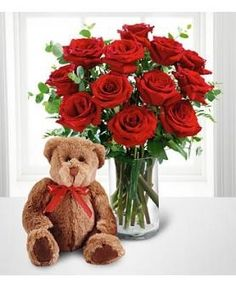 With the Dozen Roses special from Avas Flowers, an adorable plush bear will arrive at the door accompanied by a dozen classic red roses accented with greens. Not interested in red? The roses are also available in yellow, pink, peach, and white.