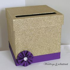 gold and purple wedding card box with flower by weddingsandwhatnot