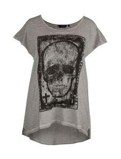 Inspire Grey Washed Skull Print T-Shirt