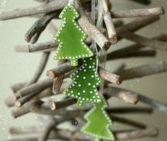 Christmas Tree Xmas Ornaments Green Ceramic Tree  White Dots  Winter Home Decoration Gift Set of 3
