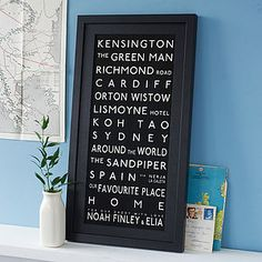 Personalised Destination Print by Betsy Benn, the perfect gift for Explore more unique gifts in our curated marketplace. Bus Ride, H & M Home, Small Words, Anything Is Possible, Koh Tao, Green Man, Kid Names, Place Names, Favorite Holiday