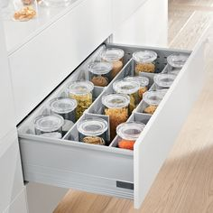 Kitchen drawer divider - Streamline your kitchen drawers with these trusted Blum drawer organisers, the Orga-line dividers give you versatility to adapt the layout of your drawers Kitchen Drawer Dividers, Kitchen Drawer Organization, Kitchen Drawers, Kitchen Sets, New Kitchen, Kitchen Storage, Kitchen Cabinets, Kitchen Rack, Diy Drawers