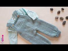 Making Child Boy Rompers 1 - Baby And Women Crochet Girls Dress Pattern, Crochet Baby Clothes Boy, Moda Crochet, Knit Baby Booties, Baby Vest, Baby Boy, Baby Sweaters, Baby Knitting Patterns, Knitwear
