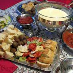 I like the idea of dipping meatballs and tortellini in the cheese fondue!