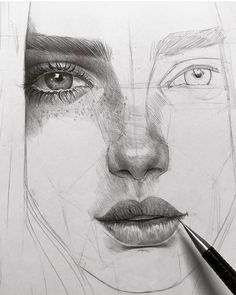 Pencil drawing tutorials, beautiful drawings, amazing art, drawing people f Face Sketch, Drawing Sketches, Sketches Of Faces, Portrait Sketches, Lips Sketch, Pencil Portrait Drawing, Drawing Models, Portrait Au Crayon, Drawing People Faces